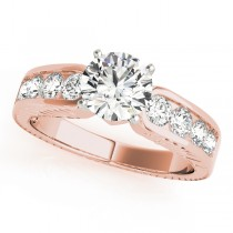 14k Rose Gold Diamond Channel Set Engagement Ring