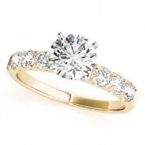 14k Yellow Gold Single Row Prong Diamond Engagement Ring