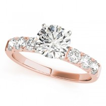 14k Rose Gold Single Row Prong Diamond Engagement Ring Top View