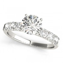 14k White Gold Single Row Prong Diamond Semi-Mount Top View