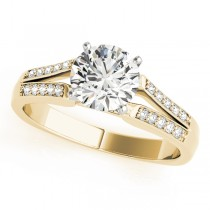 14k Yellow Gold Split Shank Diamond Engagement Ring
