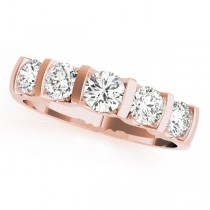 14k Rose Gold Single Row Prong Wedding Band