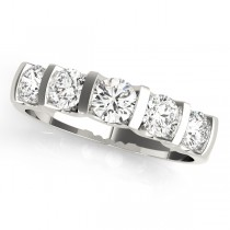 14k White Gold Single Row Prong Wedding Band