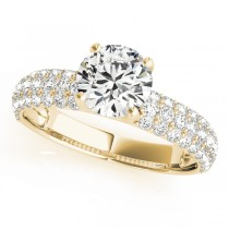 14k Yellow Gold Pave Engagement Ring