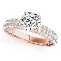 14k Rose Gold Pave Engagement Ring