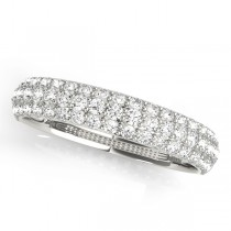 14k White Gold Pave Wedding Band