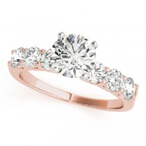 14k Rose Gold Diamond Single Row Engagement Ring Top View