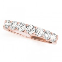 14k Rose Gold Diamond Prong Set Wedding Band Top View