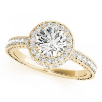 14k Yellow Gold Diamond Halo Engagement Ring