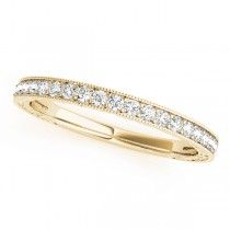 14k Yellow Gold Diamond Channel Set Wedding Band Top View