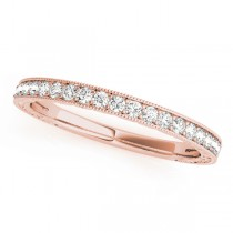 14k Rose Gold Diamond Channel Set Wedding Band Top View