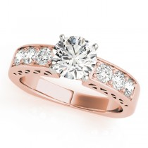 14k Rose Gold Diamond Channel Set Engagement Ring Top View