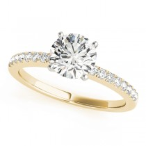 14k Yellow Gold Diamond Single Row Engagement Ring Top View
