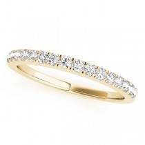 14k Yellow Gold Diamond Prong Set Wedding Band Top View