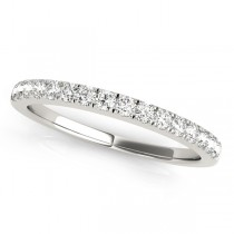 14k White Gold Diamond Prong Set Wedding Band Top View