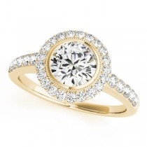 14k Yellow Gold Diamond Halo Engagement Ring Top View