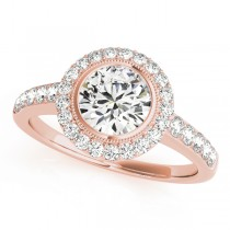 14k Rose Gold Diamond Halo Semi-Mount Top View