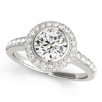 14k White Gold Diamond Halo Semi-Mount Top View