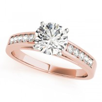 14k Rose Gold Channel Set Engagement Ring Top View