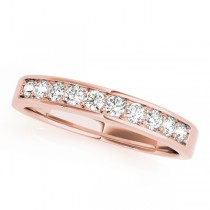14k Rose Gold Channel Set Wedding Band Top View