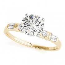 14k Yellow Gold Engagement Ring Top View