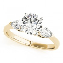 14k Yellow Gold Three Stone Engagement Ring