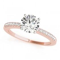 14k Rose Gold Single Row Prong Set Engagement Ring Top View
