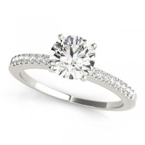 14k White Gold Single Row Prong Set Engagement Ring Top View