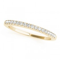 14k Yellow Gold Single Row Prong Set Wedding Band Top View