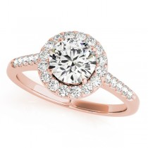 14k Rose Gold Halo Side Stone Diamond Engagement Ring Top View