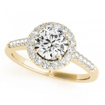 14k Yellow Gold Halo Side Stone Diamond Engagement Ring Top View