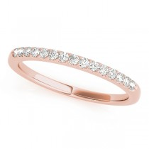 14k Rose Gold Side Stone Wedding Band Top View