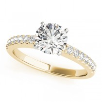 14k Yellow Gold Prong Set Engagement Ring Top View