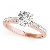 14k Rose Gold Prong Set Engagement Ring Top View