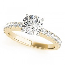 14k Yellow Gold Side Stone Engagement Ring Top View