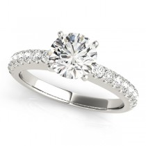 14k White Gold Side Stone Engagement Ring Set Top View