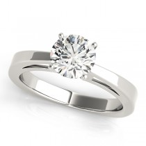 14k White Gold Solitaire Diamond Engagement Ring Top View
