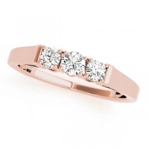 14k Rose Gold Prong Set Wedding Band Top View