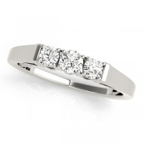 14k White Gold Prong Set Wedding Band Top View