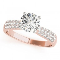 14k Rose Gold Pave Diamond Engagement Ring Top View