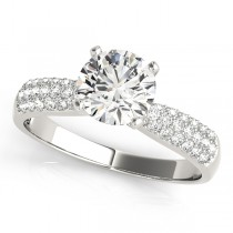 14k White Gold Pave Diamond Engagement Ring Top View