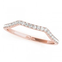 14k Rose Gold Curved Diamond Wedding Band Top View