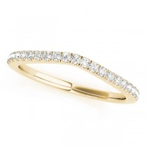 14k Yellow Gold Curved Diamond Wedding Band Top View