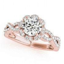 14k Rose Gold Halo Diamond Engagement Ring
