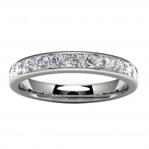 14k White Gold Channel Set Wedding Band Top View