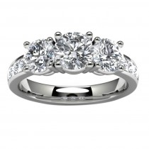 14k White Gold Three Diamond Engagement Ring