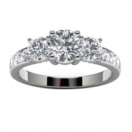 14k White Gold Three Diamond Engagement Ring Top View