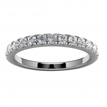14k White Gold Wedding Band Top View