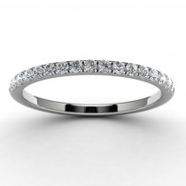 14k White Gold Round Side Stone Anniversary Band Top View