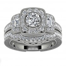 14k White Gold Three Stone Halo Diamond Engagement Set Top View